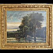 SALE 19th century French School Pastoral Landscape Oil on Canvas Painting, Antique