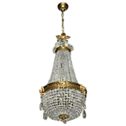 SALE 19th century Empire French Cut Crystal Chandelier
