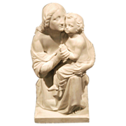SALE 19th Century Italian Marble statue of Mother and Child, by Johann Stöver
