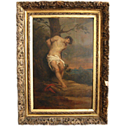 SOLD 19th century oil painting of Saint Sebastian, French