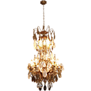 SALE Late 19th century French Rock Crystal Eight Light Chandelier