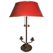 SALE Early 20th century  French Red Bouillotte Tole Table Lamp, c. 1900