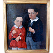 SALE Late 18th / Early 19th century Oil Painting, Primitive Portrait of Brothers, Antique ...
