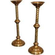 SALE Large Pair of 19th century Neo- Gothic Brass Candlesticks, Victorian, Antique