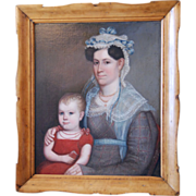 SALE Early American Oil Painting on Canvas, Portrait of Mother and Daughter, 19th century ...