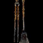 SALE Late 18th century, George III Fireplace tools, set, gilt steel