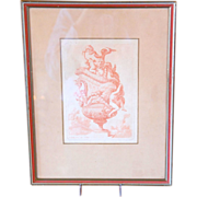 SOLD 17th century French Engraving / Print of an Antique Vase Design by Le Pautre, Framed