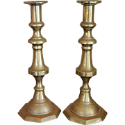 SALE 19th century English Victorian Brass Candlesticks, Very Tall Pair