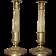 SALE 19th century French Charles X Ormolu Gilt Bronze Pair of Candlesticks, Empire / ...