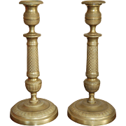 SALE 19th century French Charles X Gilt Bronze / Brass Pair of Candlesticks, Empire / ...