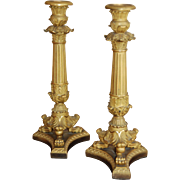 SALE 19th / 20th century Empire Style Gilt Bronze Ormolu Pair of Candlesticks, French