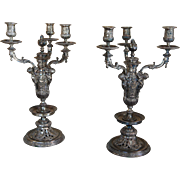 SALE 19th century Victorian Renaissance Revival Three Light Candelabra / Candleholders , Large
