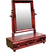 SALE Early 19th century Federal Empire Sheraton Dressing Shaving Table Mirror Mahogany Flame .