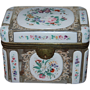 SALE Antique Bohemian Overlay Glass Casket Box , early 19th century with French Rococo Floral