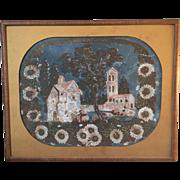 SALE Early 19th century American Wallpaper Painting Fragment, Framed, Folk Art, Americana