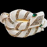 SALE TRIFARI 'Alfred Philippe' 'Garden of Eden' White Enamel Diamante Snake Bracelet