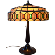 Lamb Brothers and Green Stained and Lead Glass Table Lamp