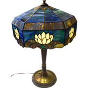 SOLD Gorham Water Lily Leaded Glass and Bronze Table Lamp