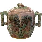 Majolica Etruscan Shell and Seaweed Sugar Bowl with Lid