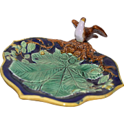 RARE Antique Majolica Bird on Oak Leaf Plate Cobalt Blue