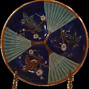 Majolica Wedgwood Bird and Fan Plate