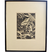 "Paul Landacre Woodcut Engraving Print Titled ""Rima"" Forest Girl ca.1936"