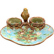 George Jones Majolica Finch with Nests Strawberry Server ca. 1880's