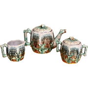 Majolica Etruscan Shell and Seaweed Teapot with Creamer and Sugar Bowl Set