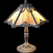 Slag Glass Metal Overlay Table Lamp circa 1920's