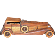 Vintage hand crafted wooden car collectible by Jerry Keon 1987