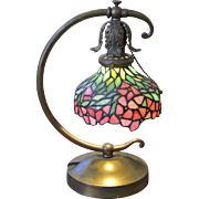 Unique Art Glass & Metal Company Stained Leaded Glass Desk Lamp
