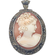 SALE Fahrner Lady Cameo Pendant Brooch Sterling Vermeil Art Deco
