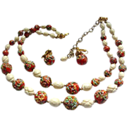SALE Hobe Necklace with Earrings Red Art Glass