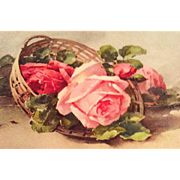 SALE Antique Greetings Postcard, Roses, Switzerland, Paper