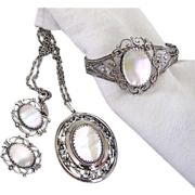 SALE Whiting and Davis Mother of Pearl, Parure, Necklace, Cuff Bangle Bracelet, Earrings Set