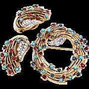 SALE Ciner Turquoise Rhinestone Brooch with Earrings