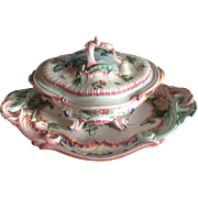 Luneville France Kg Large Faience Pottery Tureen Louis XVth Style - late 19th century
