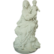 SOLD Antique French parian bisque : Virgin Mary holding Jesus - late 19th century