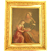 18th Century French School, Oil On Panel, Education Of The Virgin By Saint Ann
