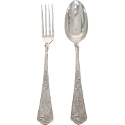 Puiforcat : sterling silver cutlery set for one (fork + spoon)