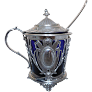 Antique French sterling silver mustard pot, Louis XVI style, late 19th century.