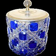 Baccarat France & Bointaburet - blue overlay Crystal and sterling silver box or sugar pot - ..
