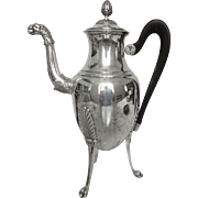 Tall antique French sterling silver coffee pot, Empire style, late 19th century