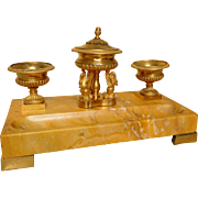 French antique inkwell, Sienna marble and ormolu - circa 1825