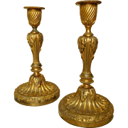 Pair of French Louis XVI candlesicks - ormolu bronze - 19th century