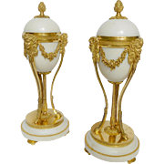 French antique pair of ormolu and marble cassolettes, Louis XVI style, 19th century