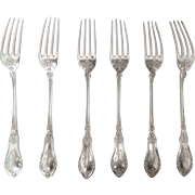 Set of 6 antique French sterling silver dessert forks - Victor Boivin