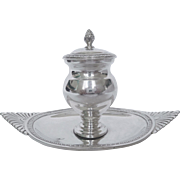 French antique sterling silver inkwell, Empire style