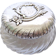 Baccarat crystal & Henri Soufflot sterling silver powder box, late 19th century
