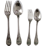 French Antique 6o Pieces Sterling Silver Flatware Set By Henin - Coat Of Arms